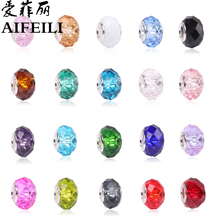 AIFEILI Fashion 20 Colors DIY Glass Beads Fit Pandora Charms Bracelets Necklaces 13*9*5mm European Beads Jewelry Making Charms(China)