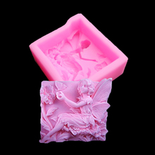 Angel Girl Silicone Mold Soap, Candle Making 3d Models Flower Fairy Cake Baking Chocolate Candy Kitchen Gadgets Fondant Molds(China)