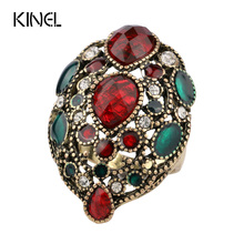 Kinel Fashion Turkey Vintage Jewelry Big Enamel Rings For Women Color Gold Red Resin Crystal Ring Gift 2017 New