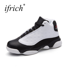 Cheap Children Basketball Shoes for Boys Brands Trainers Kids Lace Up Girls Shoes Kids White Black Designer Shoe(China)
