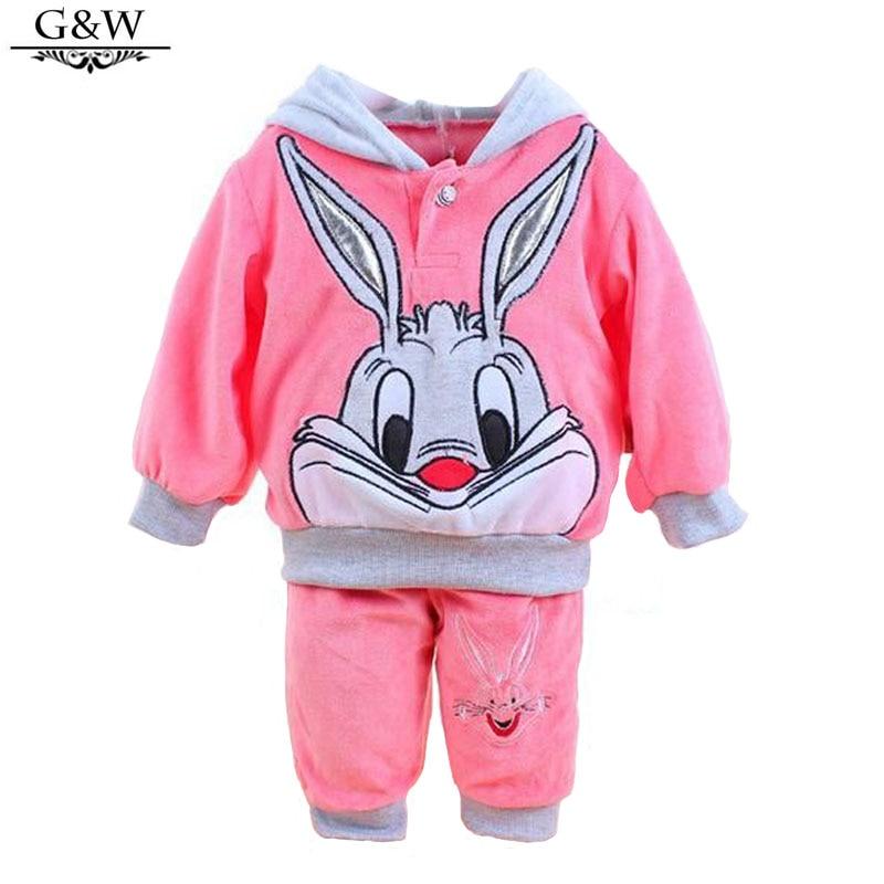 New 2016 Fall newborn Baby Set Velvet Rabbit Cartoon Print Hoodie+ Pant Twinset Velour girl boy Baby Clothing Sets Free shipping<br>