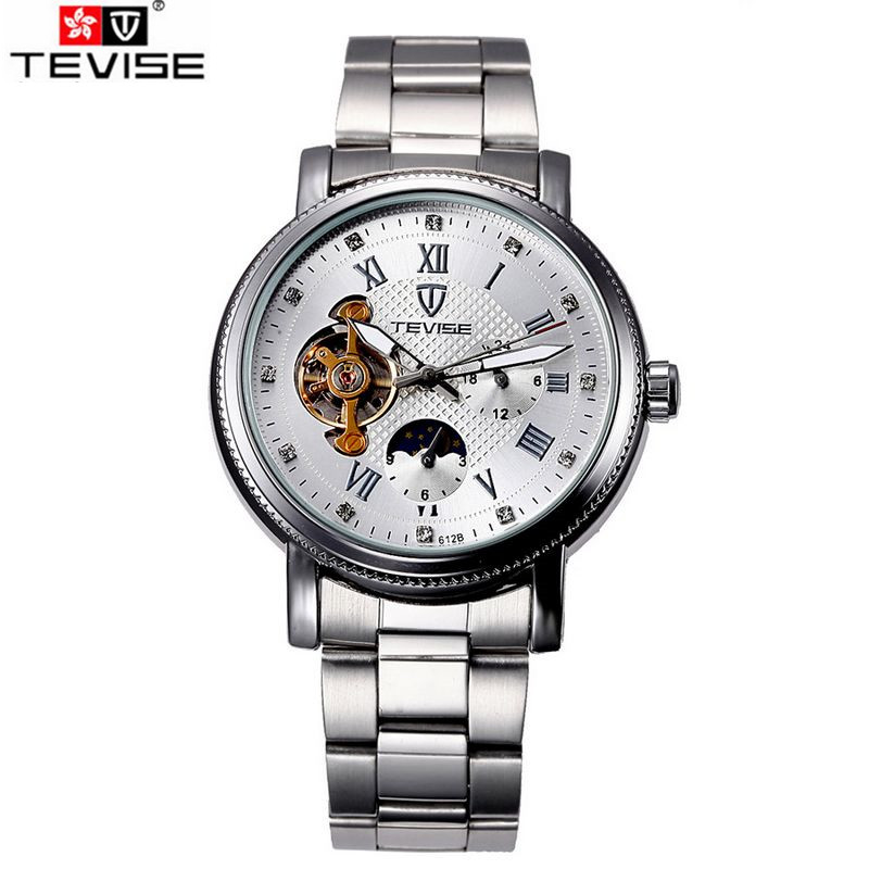 Tevise Fashion Montre Homme Stainless Steel Men Man Crystal Roman Moonpahse Auto Mechancial Watches Gift Box Free Ship<br>