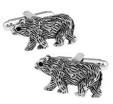 Factory Price Retail Novelyu Animal Cufflinks For Men Fashion Copper Material Gray Polar Bear Design Cuff Links Free Shipping