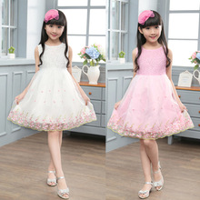 2017 Summer girls Party dress Flower White Wedding Pageant Bridesmaid Gown Princess Dresses Toddler kid Clothes Elegant Sundress