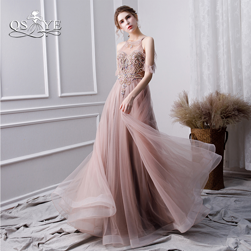QSYYE 2019 Blush Pink Long Prom Dresses Robe de Soiree Luxury Beading Tulle Floor Length Formal Evening Dress Party Gowns