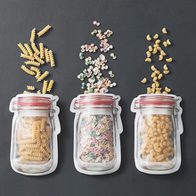 HIPSTEEN 3pcs/set 19.5*13.7CM Zip-lock Bag Portable Household Mason Jar Shape Food Zipper Sealed Storage Bag Color Random(China)