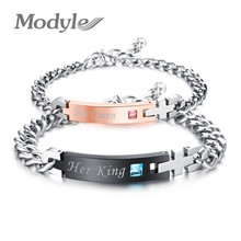 "Modyle Unique Gift for Lover ""His Queen""""Her King "" Couple Bracelets Stainless Steel Bracelets For Women Men Jewelry(China)"