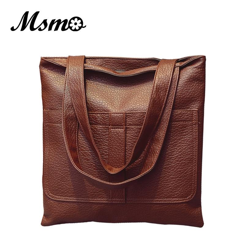 MSMO Female Bag Vintage Soft Leather Bag Cheap Big Bag Womens Famous Brand Handbag City Tote Sac A Main Femme Dollar Price<br><br>Aliexpress