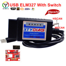 2017 Newly ELM327 USB 25K80 + FTDI Chip With HS/MS CAN Switch Code Reader For Ford Open Hidden Function Car Diagnostic 20pcs/Lot