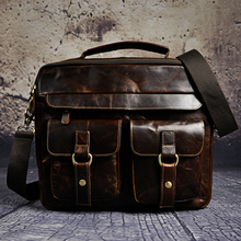 "Mens Genuine Real Leather Antique Style Briefcases Business 13"" Laptop Cases Attache Portfolio Bags Tote B207"