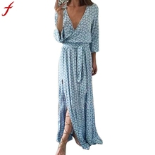 Women Long Sleeve Deep V Neck Sexy Printed Long Maxi Dress With Belt off-shoulder chiffon dot wrap High quality desigual(China)