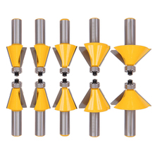 "5Pcs 1/2"" Shank Router Bit Chamfer Edge Forming Router Bit Set 11.25/15/22.5/30/45 Degree Woodwoking Cutter"