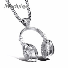 Modyle Fashion Design Men Jewelry Puck Style Box Link Chain 316L Steel Music Carnival Headphones Necklace for Men(China)