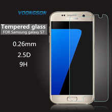 VOONGSON S 7 Top Quality 9H Hardness Screen Protector Glass Arc Tempered Glass For Samsung Galaxy S7 G930 G9300 Protective Film