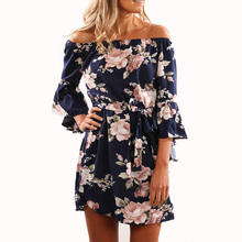 Sexy Off Shoulder Short Mini Straight Shirt Dress Women Print Flower Floral Summer Beach Dress 2017 2/3 Flare Sleeve Party Dress(China)