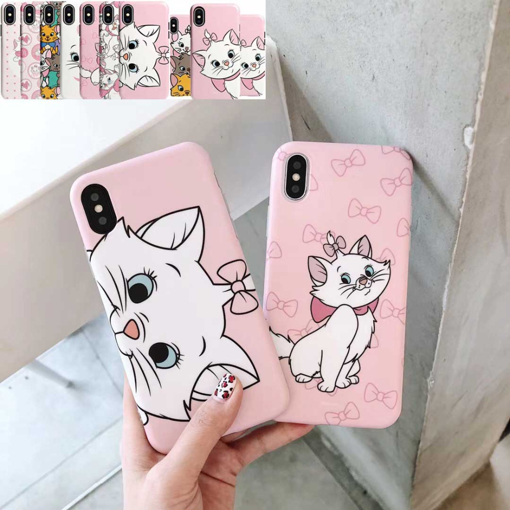 Cute Pink Marie Cat Soft Silicone Phone Case For iphone 6 6s 6 s 7 8 plus Love Cartoon Case for iphone X XR XS MAX Cover Coque(China)