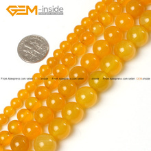 Natural Round Yellow Agates Loose Stone Beads 6-14mm 15inches DIY Jewellery Bracelet Necklace FreeShipping Wholesale Gem(China)