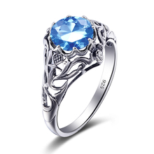 China 925 Sterling Silver Manufacturers Charms Real Sky-Blue Crystal Solitaire Engagement Ring For Women Wedding Body Jewelry
