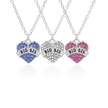 Big sis middle sis little sis Blue Red White BFF necklaces Full Rhinestone Statement Heart Necklace Girls Friendship Jewelry