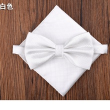 2017 New Solid color Bowtie Set Bow Ties Handkerchief 2 pieces Mariage Gift Tie Pocket square