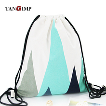 TANGIMP Drawstring Backpacks Nordic Geometric Pattern Cotton Canvas Travel Softback Man Women harajuku Bags Drawstring Bag 2017(China)