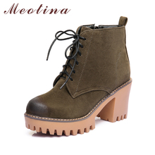 Buy Meotina 2018 New Platform Ankle Boots Women High Heel Boots Zipper Winter Boots Thick High Heel Sewing Lace Women Shoes Green for $29.55 in AliExpress store