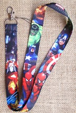 Wholesale 10Pcs Cartoon Popular anime HEROES avengers Neck Straps Lanyards Mobile Phone,ID Card,Key Condole belt Mixed P-05