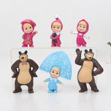cute baby toy doll Masha Bear figure Painter Snow Maiden Masha with teddy Masha and the Bear Action Figures Toys for Children(China)