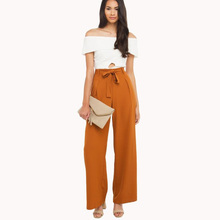 Orange high waisted formal palazzo pants women bow tie elegant wide leg pants for work ladies female long casual wide trousers(China)