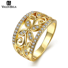 VELAN BELA Full Zirconia Leaves Ring for Women Gold Color Finger Ring Size 6,7,8,9,10 Fashion Jewelry Wholesale JZ5168/N