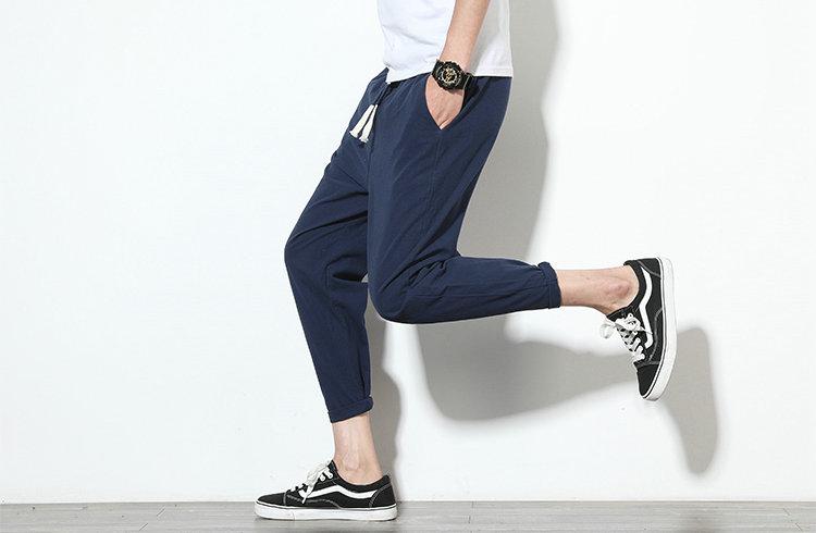 Cotton Linen Joggers Navy Men's Harem Pants 5