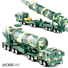 1:64 Military Car Model World War Dongfeng DF31A intercontinental Ballistic Missile Pull Back Light Sound Gift Kids Toy(China)