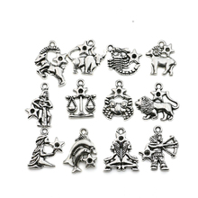 12pcs Antique Silver Plated Zodiac all Constellation Charm Zinc Alloy Pendant Jewelry DIY Making Accessories Handmade 20mm