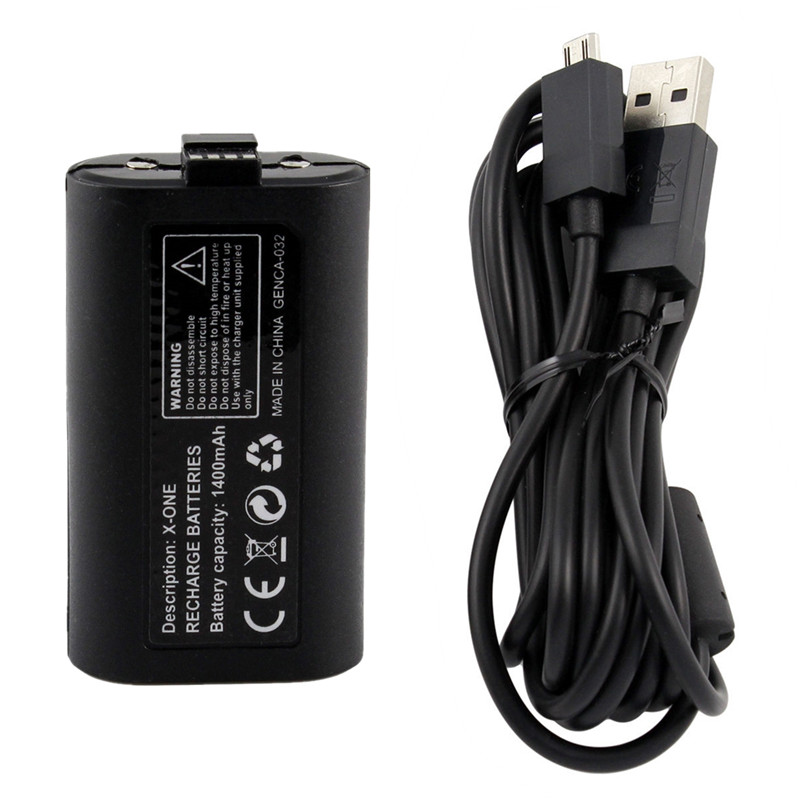 New Arrival High Quality 1400mAh Rechargeable Replacement Battery Pack With USB for XBOX ONE Wireless Controller With Cable(China)
