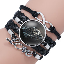 NingXiang Game Of Throne Bracelet House Stark Wolf Head Infinity Glass Cabochon Bracelets Bangles WINTER COMING Wrap Bracelet