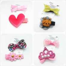 Top ranking Toddlers hair clips lovely Cartoon animal flowers/crown Bowknot hairpins girls barrettes cloth hair Acessories MJ5