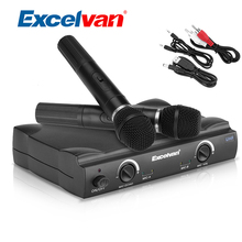 Excelvan K380 Wireless Handheld Condenser Microphone Dual 2 Channel UHF Recording Microphone For Karaoke Conference Home Use(China)