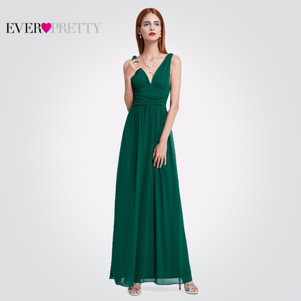 Ever-Pretty Women Elegant Sexy Evening Dresses V-Neck Chiffon Backless Vintage Sleeveless Dark Green Party Evening Dress