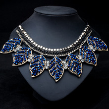 LNRRABC Fashion Women Lady Girl Hot Luxury Blue Crystal Leaves Design Collar Pendant&Necklace Jewelry Wedding Gift