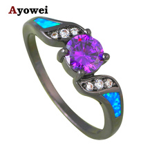 Noblest Zircon Fashion Jewelry Blue Fire Opal Silver Stamped Engagement Rings USA Size #7#8#9 OR837A - Jos fan's store