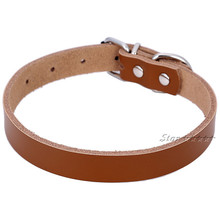 Solid Color Real Leather Dog Collar Neck Strap Four Colors Size ( S M L ) Free Shipping 1H