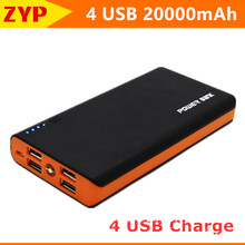 New Original Mobile Solar Power Bank 20000mAh 4 USB powerbank portable charger external Battery for all phones Backup powers