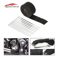 KKmoon Fiberglass Insulation Clothes SI-A0158 5m*5cm*1.5mm Exhaust Heat Wrap Turbo Pipe Heat Insulated Wrap for Motorcycle Car(China)