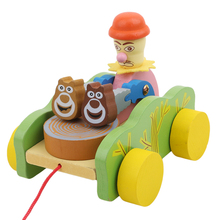 Baby Kids Wooden Cock Peck Rice Pull Car Toy Early Walking Educational Toy Vehicles Model Baby Child Animal Toys SA972828(China)