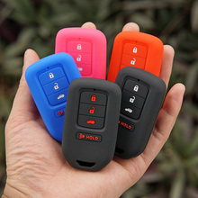 Silicone key fob cover case shell protect skin for Honda 2013 2014 for Accord Civic Pilot CRV HRV EX EXL Remote keyless holder