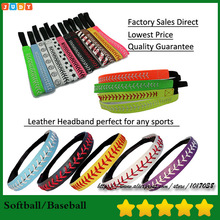 Softball Baseball Headbands Seamed Leather Baseball Fast Pitch Hair Bands Bandage On Head Gum For Hair Scrunch(China)
