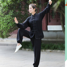 New Arrival Black Chinese Women Sportswear Silk Satin Tai Chi Suit Female Vintage Button Clothing M L XL XXL XXXL