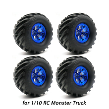 4Pcs Wheel Rim Tire Set for 1/10 RC Monster Truck Traxxas HIMOTO HSP HPI Tamiya Kyosho Remote Control Toy Car 1/10 Tyre Parts