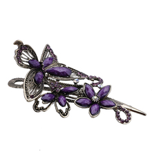 Free Shipping 1PCS 115 * 65mm retro national wind bronze alloy resin flower hairpin purple(China)