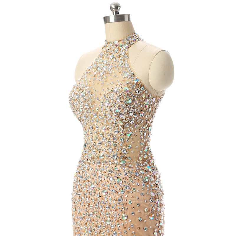 Sexy Short Evening dress Beaded Crystals gown